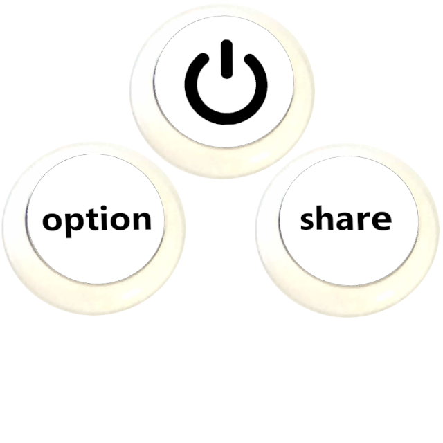3 boutons - On Off, Option, Share